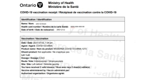 A sample COVID-19 vaccination receipt is seen in this image from the Ontario Ministry of Health.