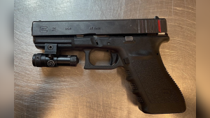 A handgun seized by police in February 2021. (Source: EPS)