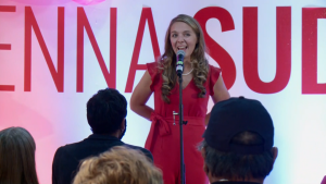 Jenna Sudds speaks to supporters at her campaign headquarters after being declared the winner of the Sept. 20, 2021 federal election race in the riding of Kanata—Carleton. (CTV News Ottawa)