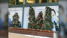 Fake snow, Christmas trees, lights and movie trucks adorned the streets outside the RBC Convention Centre.