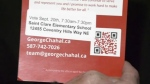 Chahal campaign literature that was left on doorstep of a northeast Calgary man who was upset that Chahal removed a card promoting his opponent. Chahal's spokesperson said the card he removed contained incorrect polling station information and that they have reported it to Elections Canada.