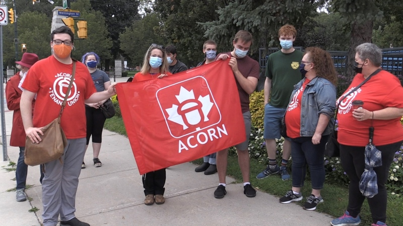 Members of London ACORN held a rally outside city hall on Tuesday, Sep. 21, 2021. (Daryl Newcombe / CTV London)
