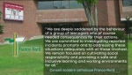 French Catholic school board's statement on video appearing to show a group of students engaged in anti-Semitic behaviour. (Jaime McKee/CTV Northern Ontario)