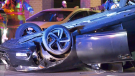 A vehicle rests on its roof after a crash on Dunlop Street East in Barrie on Tues., Sept 21, 2021. (Steve Mansbridge/CTV)