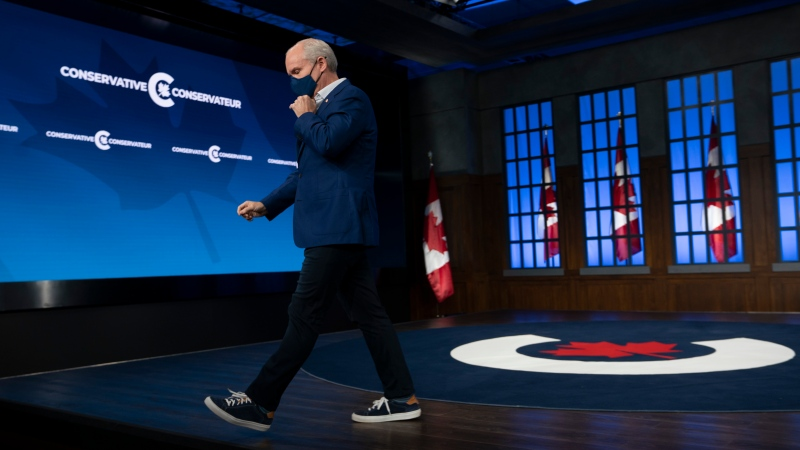 Conservative leader Erin O'Toole leaves the set where he spend much of the election following a news conference Tuesday, September 21, 2021 in Ottawa.THE CANADIAN PRESS/Adrian Wyld