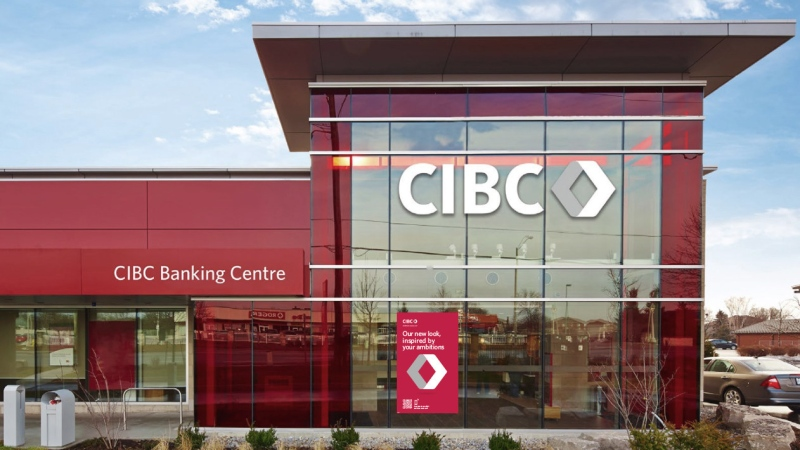 CIBC Banking Centre featuring the bank's new logo and brand look is shown in this undated image. THE CANADIAN PRESS/HO-CIBC