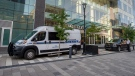 A sheriff's prisoner transport van is parked outside the Halifax Convention Centre at the start of a trial for six of the 15 inmates accused of participating in a vicious assault of another prisoner at a Nova Scotia jail, in Halifax on Wednesday, Sept. 22, 2021. The victim sustained life-threatening injuries in the Dec. 2, 2019 attack at the Central Nova Scotia Correctional Facility in Dartmouth. THE CANADIAN PRESS/Andrew Vaughan