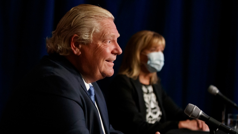 Ont. Premier Doug Ford and Minister of Health Christine Elliott are seen at a press conference at Queen's Park in Toronto, Wednesday, Sept. 22, 2021. THE CANADIAN PRESS/Cole Burston