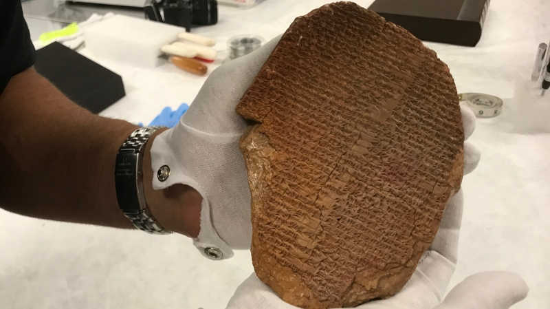The Gilgamesh Dream Tablet is pictured after being seized by U.S. authorities. (Courtesy U.S. Immigration and Customs Enforcement/UNESCO)