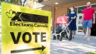 People leave a polling station after voting on federal election day in Montreal, Monday, September 20, 2021. THE CANADIAN PRESS/Graham Hughes