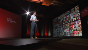 Liberal Leader Justin Trudeau is seen in a Toronto studio as he pitches his 2021 platform.