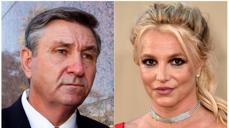 """This combination photo shows Jamie Spears, father of singer Britney Spears, leaving the Stanley Mosk Courthouse in Los Angeles on Oct. 24, 2012, left, and singer Britney Spears at the Los Angeles premiere of """"Once Upon a Time in Hollywood"""" on July 22, 2019. (AP Photo)"""