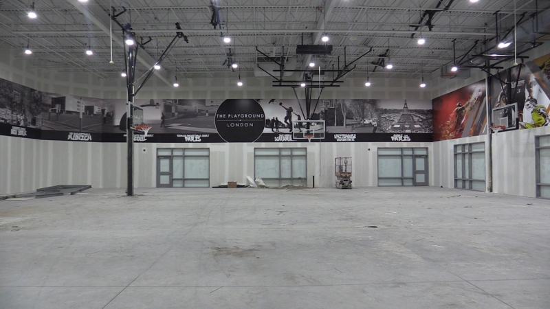 The Championship court at the 'The Playground London'  is seen under construction in Sept. 2021, and is expected to open in London, Ont. in October. (Brent Lale / CTV News)
