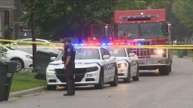 Police respond to a shooting on Rushbrook Drive in Brampton Wednesday September 22, 2021.