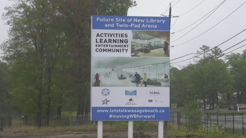 Construction begins on a new twin-pad arena in Wasaga Beach, Ont., on Wed., Sept. 22, 2021 (Rob Cooper/CTV News)