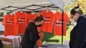 """The Gathering Place sold orange """"Every Child Matters"""" shirts, beaded pins and lawn signs ahead of the statutory holiday. (Taylor Rattray/CTV News)"""
