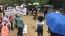 Carleton University students protesting the suspension of the Attendant Services Program. (Dave Charbonneau/CTV News Ottawa)