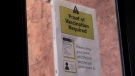 A notice informing customers of the vaccine certificate program for indoor dining in effect at Casa Cappuccino in Barrie, Ont. on Wed. Sept. 22, 2021 (Siobhan Morris/CTV News)
