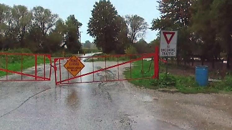 Bridge closure at St. Jacob's dam