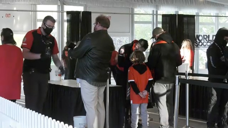 Fans at the Cavalry F-F game Wednesday said the vaccine passport check process went smoothly