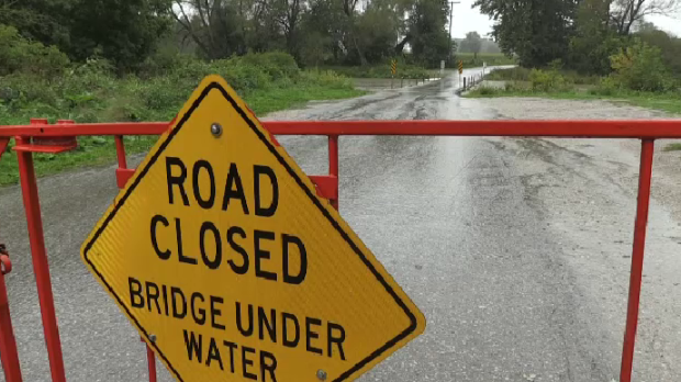 Flooding closed the low level bridge in St. Jacobs. (Sept. 22, 2021)