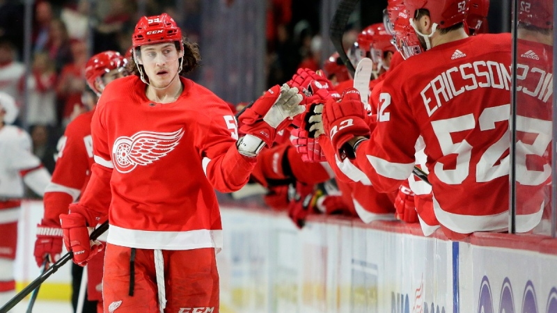 Detroit Red Wings left wing Tyler Bertuzzi (59) celebrates a goal against the Carolina Hurricanes, on March 10, 2020. (Duane Burleson / AP)