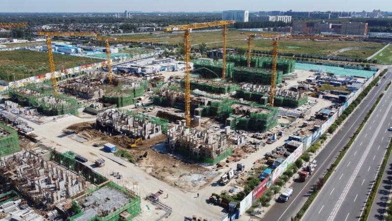 An aerial view shows an Evergrande new housing development project under construction in Beijing, on Sept. 22, 2021. (AP)
