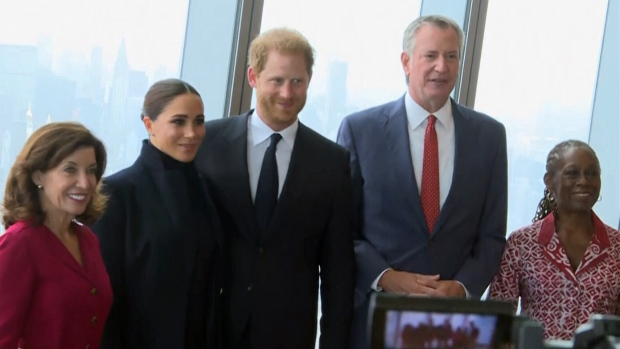 The Duke and Duchess of Sussex visit the observatory at One World Trade Center in NYC, Thursday, Sept. 23, 2021.