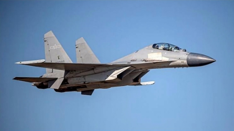 In this undated file photo released by the Taiwan Ministry of Defense, a Chinese PLA J-16 fighter jet flies in an undisclosed location. (Taiwan Ministry of Defense via AP)