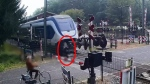 A Dutch transit agency released this footage of a woman's narrow escape on Sept. 21.