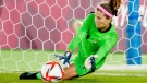 Canada's Stephanie Labbe makes a save against Sweden in the sixth round of the penalty shoot-out in the women's soccer final during the summer Tokyo Olympics in Yokohama, Japan on Friday, August 6, 2021. THE CANADIAN PRESS/Frank Gunn