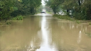 Coldstream Road washed out north of Perry on Thursday September 23, 2021. Locals note the water is as high as three feet deep. (Sean Irvine / CTV News)