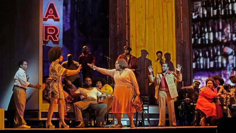 Latonia Moore as Billie, centre, and the cast during a rehearsal for Terence Blanchard's 'Fire Shut Up in My Bones,' opening the Metropolitan Opera season on Sept. 27, 2021. (Ken Howard / Met Opera via AP)