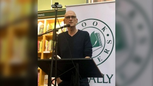 Author David Bergen takes part in an in-person and virtual reading during the Winnipeg International Writer's Festival Wednesday night. (Image source: Facebook: /Winnipeg International Writers Festival)