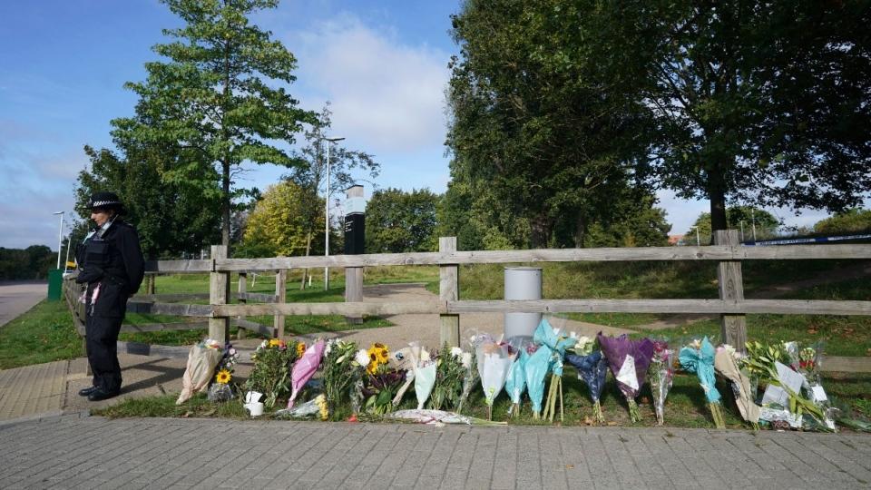 Floral tributes at Cator Park in Kidbrooke, London