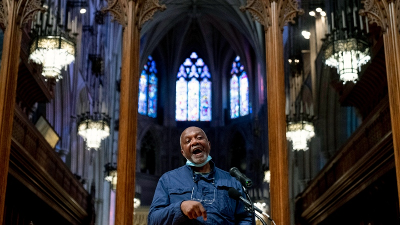 Artist Kerry James Marshall speaks at a news conference on Sept. 23, 2021, after being selected to design a replacement of former Confederate-themed stained glass windows that were taken down in 2017 at the National Cathedral in Washington. (Andrew Harnik / AP)