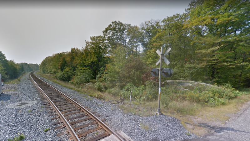 Train tracks and a railway crossing in McDougall Township, Ont. (Google Street View)