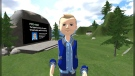 Dr. Tony Chaston in teh virtual reality world he created to teach a fourth-year psychology course at Mount Royal University. (Courtesy MRU)