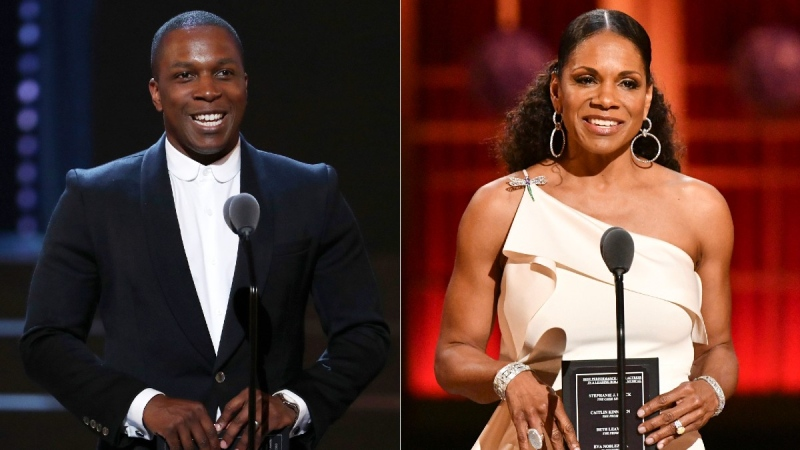 From left: Leslie Odom Jr. presents an award at the 2018 Tony Awards, and Audra McDonald presents an award at the 2019 Tony Awards. (AP)