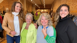Pictured are the organizers of Collingwood Fashion Week alongside legendary Canadian Supermodel Monika Schnarre (L), who lives in town and serves as an ambassador for this event. (KC Colby/CTV News)