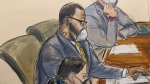 In this courtroom sketch, R. Kelly, center, sits with his defense attorneys Thomas Farinella, top, and Nicole Blank Becker during the first day of his defense in his sex trafficking case, Monday, Sept. 20, 2021, in New York. (AP Photo/Elizabeth Williams)