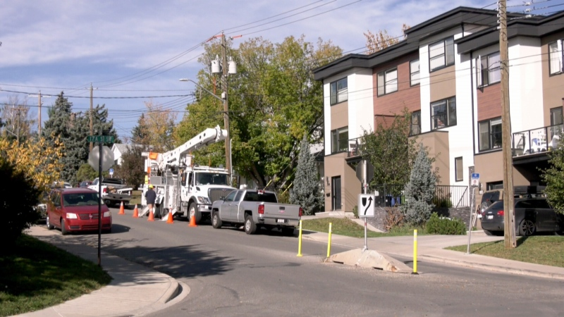 Crews work to repair a transformer that reportedly exploded in the southwest community of Bankview.