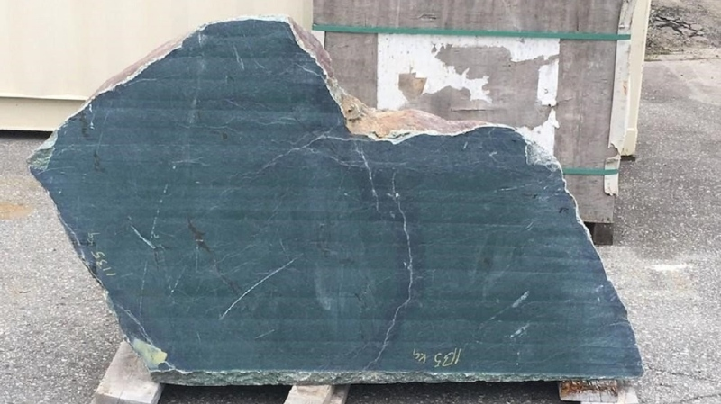 The large piece of jade was donated by Tony Ritter, the co-owner of Cassiar Jade Contracting in Yukon.