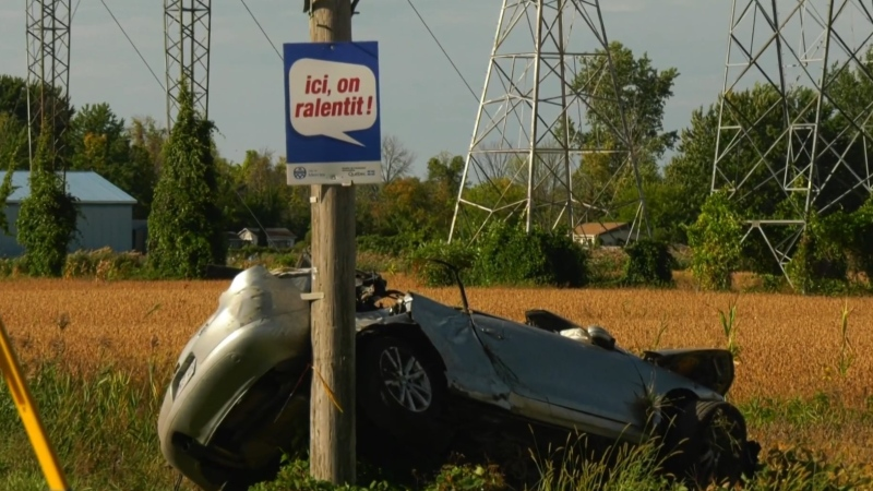 One of the cars in the crash collided with a police with a sign warning drivers not to speed.