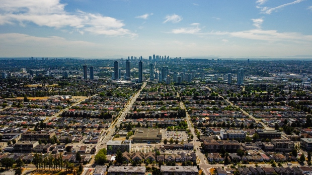 The Brentwood area of Burnaby, B.C., is seen from the air by drone in July 2021. (Jordan Jiang / CTV News Vancouver)