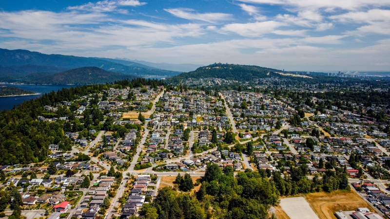 The Capitol Hill area of Burnaby, B.C., is seen from the air by drone in July 2021. (Jordan Jiang / CTV News Vancouver)