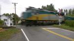 A VIA Rail train passes the Mallorytown crossing. (Nate Vandermeer/CTV News Ottawa)