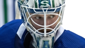 Vancouver Canucks goalie Thatcher Demko looks on during the NHL hockey team's training camp in Abbotsford, B.C., on Thursday, September 23, 2021. THE CANADIAN PRESS/Darryl Dyck