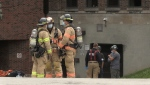 Emergency crews respond to a fire at the Thames Valley District School Board offices in London, Ont. on Thursday, Sept. 23, 2021. (Bryan Bicknell / CTV News)