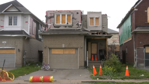 Crews work to repair homes two months after an EF-2 tornado ripped through a Barrie, Ont., community.  Thurs., Sept. 23, 2021 (Rob Cooper/CTV News)